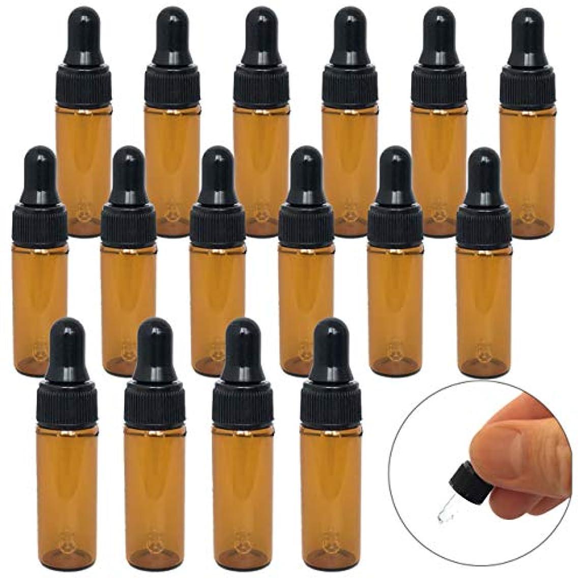 (m-stone)スポイト遮光瓶 セット アロマオイル エッセンシャルオイル 精油 ガラス製 茶色 遮光瓶 ガラスボトル アンバー (5ml 15本 セット)