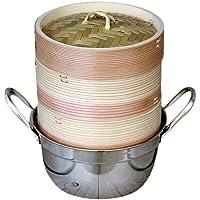 杉蒸篭(セイロ)15cm2段ガスコンロ・IH対応鍋つきセット ヘルシーな温野菜や蒸し料理が美味しく簡単に♪