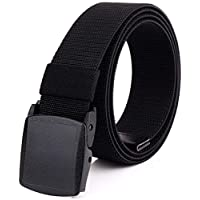 Braided Elastic Stretch Woven Belt with Automatic Sliding Buckle, Canvas Belt With Plastic Buckle (Color : Black, Size : 120cm)