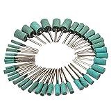 ゴム砥石 円筒型 軸径3mm 各6本入り 7サイズ 合計42本セット 緑色