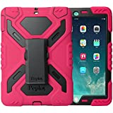 iPad Pro 9.7 Case, Feitenn Dual Layer Soft Rugged Hard PC Stand Kickstand Built-in Screen Protector Shockproof Kid Proof Heavy Duty case 9.7 inch iPad Pro for Kids (Pink/Black)
