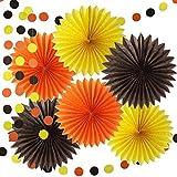 Furuix ペーパーファン パーティー 飾り付け 誕生日 飾り 部屋 装飾 7点 オレンジ ブラウン