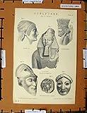 旧式な印刷物 C1800-1870 の古代彫刻のエジプト人 / old-print