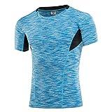 Sanke 加圧コンプレッションシャツ メンズ 半袖 スポーツインナー 加圧Tシャツ 着圧 吸汗速乾 抗菌防臭 姿勢矯正 猫背解消 ダイエット トレーニング ランニン ウォーキングウェア 男性用カラーブルーS