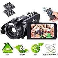 ビデオカメラ  デジタルカメラ  カムコーダー フル 2.7K 18Xデジタルズーム 3000万画素 美容機能 顔検出  3.0インチ液晶ディスプレイと270度の回転画面リモートコントロール付き