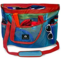 Red Suricata Large Mesh Beach Bag Tote with Zippered Top | Waterproof Inside Pocket & 7 Large Elastic Outside Mesh Pockets | for Toys, Picnic, Pool, Market, Groceries