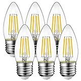シャンデリア電球 LED e26口金 フィラメント 470ML 40W形相当 電球色 4W クリアタイプ シャンデリア用 省エネ85% C35 360度発光 6個セット 安心3年保証付 非調光