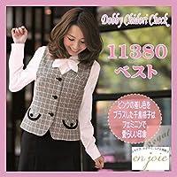 (アンジョア) EN JOIE 事務服 ベスト チェック 9号 ピンク 11380-5