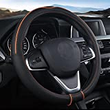 SHIAWASENA Auto Car Steering Wheel Cover, Universal 15 Inch Fit, Soft Leather, Breathable Anti Slip (Black&Orange)