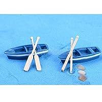 ドールハウス樹脂盆栽ガーデンミニチュアテラリウムフェアリーガーデン風景装飾2セットボート