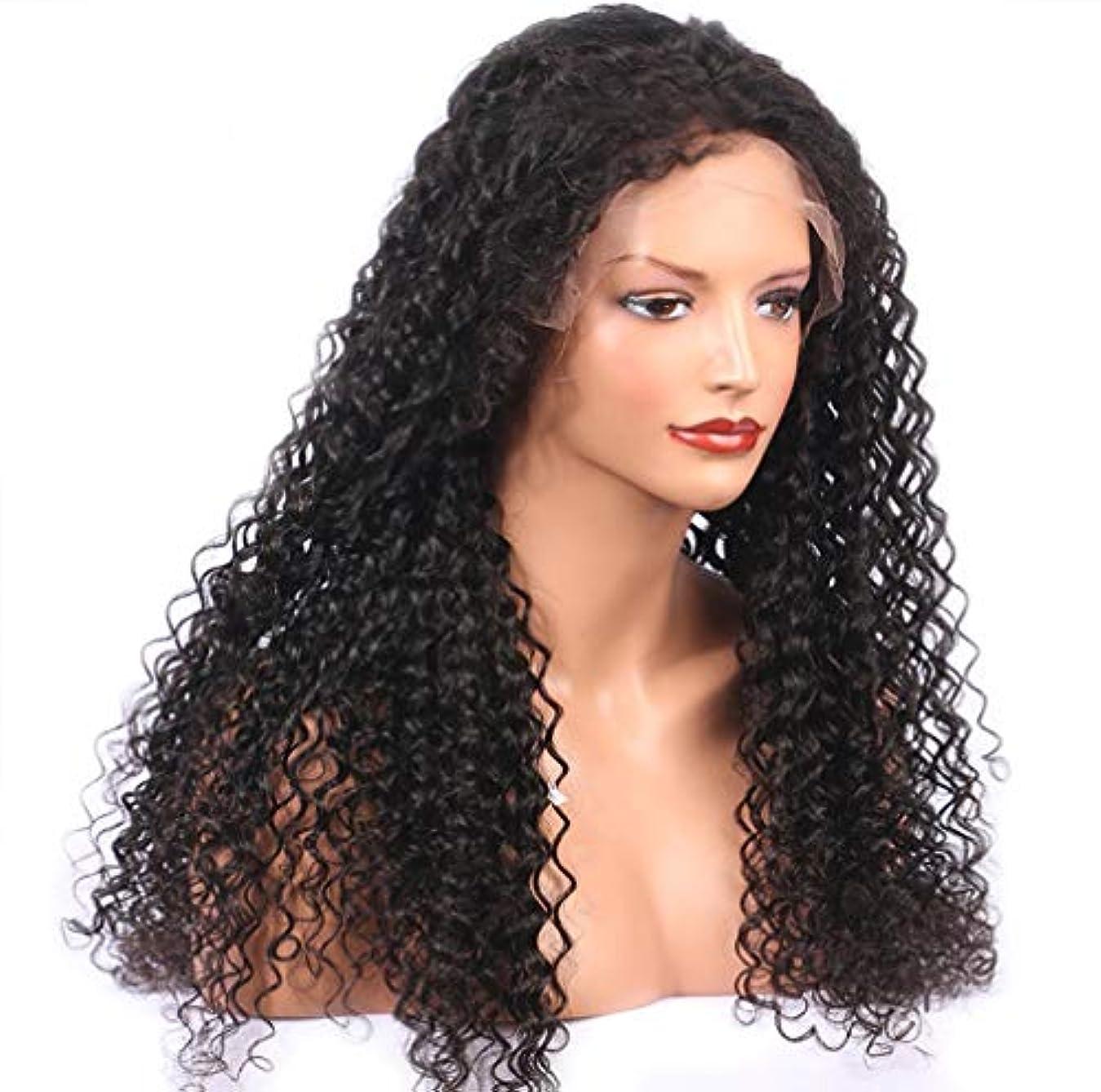 操作大宿題女性フロントレースかつら150%密度合成ブラジルふわふわショート髪波状カーリー合成繊維かつら