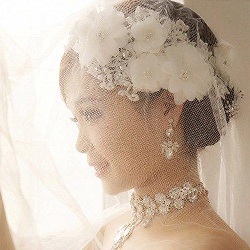 YZG 花嫁 ウェディング ヘッドドレス ドレス アクセサリー カチューシャ コサージュ 髪飾り 和装にも 結婚式 ティアラ ヘッドアクセサリー フラワーヘッド 花冠