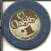 $ 1 Oasis San Diego Californiaカジノチップヴィンテージブルー