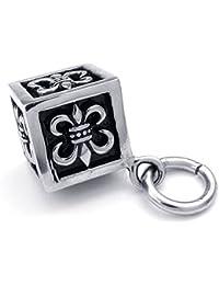 [テメゴ ジュエリー]TEMEGO Jewelry メンズステンレススチールヴィンテージゴシックペンダントキュービッククロスネックレスチェーン、ブラックシルバー[インポート]