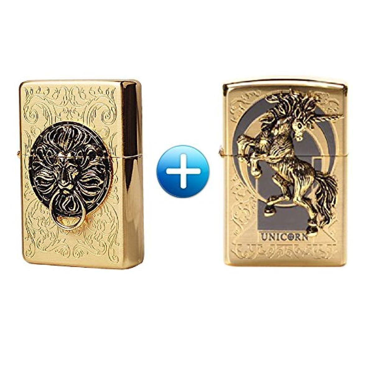 ゴミ好き切断するZippo Lion Gate Gold + Unicorn Gold 1+1 Lighters ライター / 正真正銘の本物 / オリジナルパッキング(6フリントセット x 2 フリーギフト) [並行輸入品]