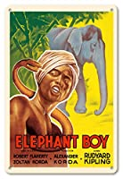 22cm x 30cmヴィンテージハワイアンティンサイン - キプリング象ボーイ - ロバート・フラハティ出演 - ビンテージなフィルム映画のポスター c.1937