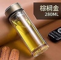 ウォーターカップ ふたのオフィスの創造的なフィルターカップおよび耐熱性カーティーカップが付いているガラス二重携帯用水ボール、金/ 280Ml,6.5 * 19Cm