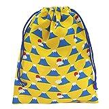 手作り 和柄 巾着袋 黄色×富士山 和小物 和雑貨 和風小物