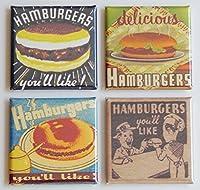 ハンバーガー冷蔵庫マグネットセット( 2x 2インチ各