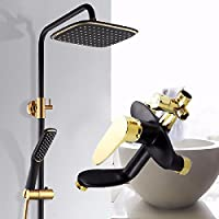 wAWzjバスルームシャワーセットシャワースプリンクラーSuitフル銅ボディシャワーブラックゴールド水の保存とturbochargedシャワーヘッド