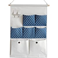 Linen/Cotton Fabric Over Wall Door Closet Window Hanging Storage Case Organizer Bag,NKTM Blue Stripe Canvas 7-Pocket Wall Hanging Multipurpose Accessory Organizer with 2 Hooks [並行輸入品]