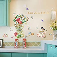 Nicircle ウォールステッカー 手描き 茶碗 蝶 花 寝室 リビングルーム 取り外し可能な装飾的な壁のステッカー 壁紙 部屋飾り 剥がせる 2019 Fsahion Wall Stickers