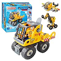 VLAMPO 3 in 1 Construction Truck Toys STEM Toys Educational LearningTake Apart Toy Car Engineering Kits Dump Truck Crane Excavator with Tools Gifts for Kids Ages 5 6 7 8 9 Years Old [並行輸入品]