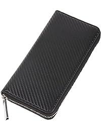 RANDELE ラウンドファスナー 長財布 メンズ カーボン レザー 本革 牛革 財布 カード 大容量 ダブル lファスナー