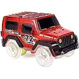 Umiwe マジックトラックカー ライトアップ 交換用 おもちゃの車 LED3個 2色ライト ダブルフラッシュ トラックカー 暗闇で光る レーシングトラック ほとんどのマジックトラック、男の子、女の子に対応 レッド 6242340194405