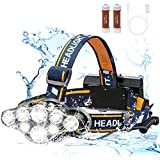Headlamp, High Lumen Ultra Bright 8LED Headlight Flashlight with White Red Lights, USB Rechargeable Head Lamp with 2 Batteries, 8 Modes for Outdoor Camping Cycling Running Fishing