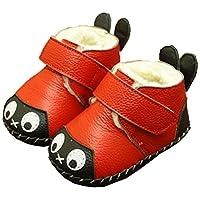 [もうほうきょう] ベビーシューズ 冬 ファーストシューズ 男女の子赤ちゃん 綿靴0-1-2歳ソフト底真皮プラス絨学步靴厚い児童綿靴 (13.5 cm, レッド)