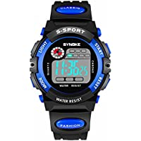 Teen Boys Watch, Multifunction Digital Large Dial LED Alarm Date Waterproof Sports Military Wrist Watch Blue