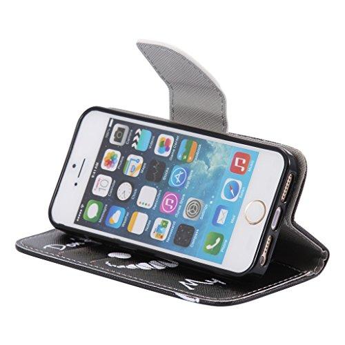 deac75dd58 ... UNEXTATI iPhone 5 / iPhone 5s ケース高級合皮レザー手帳型ケースカバーカード ...