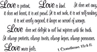 1 Corinthians 13:4-8, Bible Verse Wall Decal, Love, Patient Kind Not Envy Always Hopes Perseveres Never Fails. Our Inspirational Christian Scripture Wall Arts Are Made in the Usa. by Scripture Wall Art