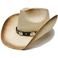 2020 Women Punk Style Women's Men's Sun Hat Unisex's Summer Straw Wide Brim Beach Cowboy Western Cowgirl Fedora Hat Alloy Beads Leather Band Fashion Casual (Color : 1, Size : 56-58cm)