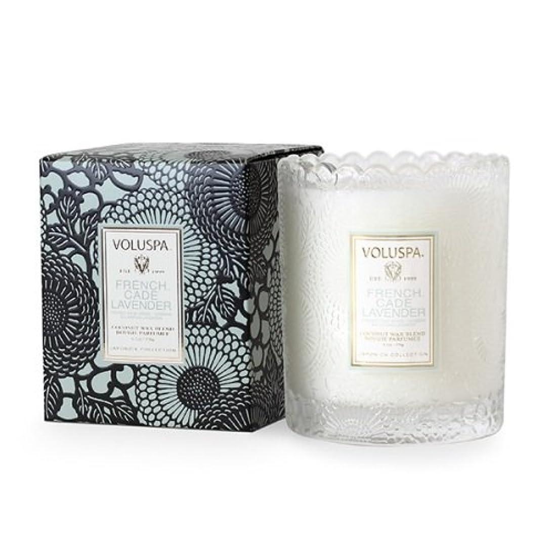 満足ビタミン財産Voluspa ボルスパ ジャポニカ スカラップグラスキャンドル フレンチケード&ラベンダー JAPONICA Glass Candle FRENCH CADE LAVENDER