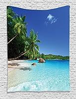 海洋装飾タペストリー壁吊りby Ambesonne、Sunny Horizon透明水?Solatedビーチ、寮寝室リビングルーム装飾、60W x 80Lインチ