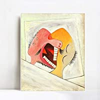 """INVIN ART Framed Canvas Giclee Print Art 1931 The Kiss by Pablo Picasso Wall Art Living Room Home Office Decorations(White Slim Frame,24""""x32"""")"""
