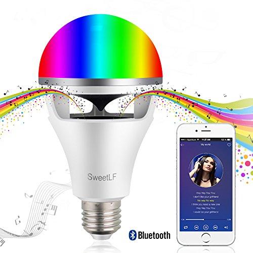 SweetLF LED電球 スマートLED【最新型】スピーカー内蔵 音楽電球 8W (80Wの明るさに相当) 音楽再生 調光調色 マルチカラー Bluetooth4.0 LEDライト 省エネ 目覚まし機能 APPコントロール カラオケ雰囲気
