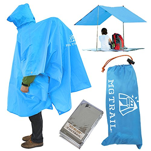 ポンチョタープ【MGTRAIL】レインコートレジャーシートトレッキング登山雨具リュックを背負って着用可軽量携帯ポンチョ防寒シート付(スカイブルー)