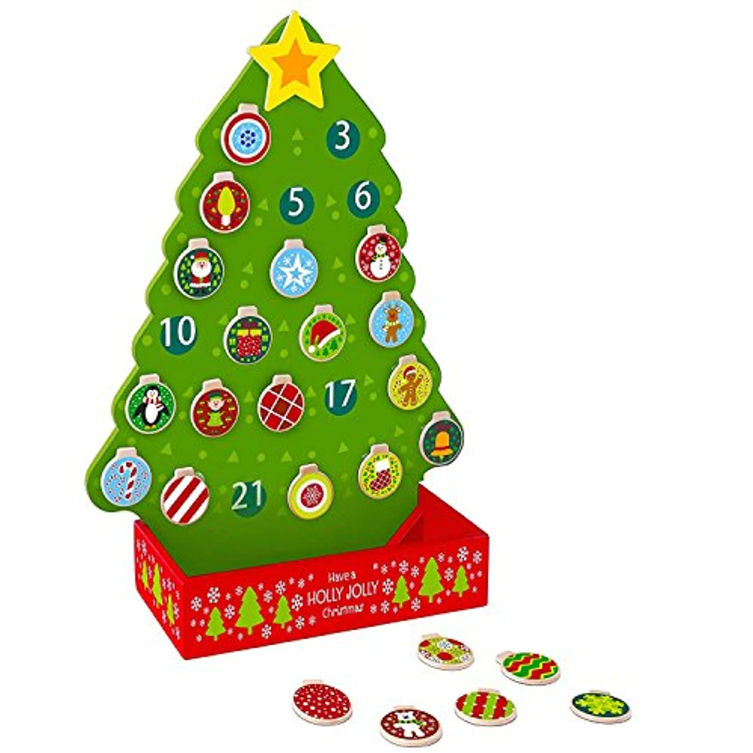 Pidoko Kids Countdown To Christmas Advent Calendar Tree - Wooden Toy Set with Magnetic Ornaments and a Shining Star (26 Pcs)