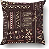 emvencyスロー枕カバーブラックTribal AfricanレッドアフリカプリミティブAuthentic文化Naive Shieldスケッチポリエステル18x 18インチ正方形隠しファスナー付き装飾枕カバー