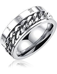 [ティンティンローズ]TingTing Rose ステレンス製 メンズ リング 指輪 回転可能なチェーンテザー ローマ数字 リング 男性指輪 日本サイズ:13号 シルバー