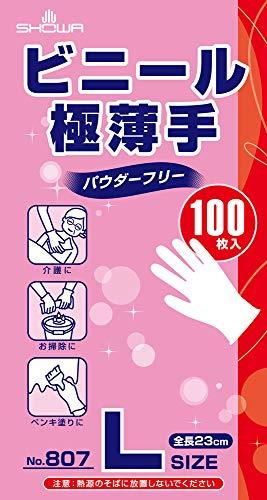 ショーワグローブ 【使い捨て手袋】No.807 ビニール極薄手(パウダーフリー) 100枚入 Lサイズ 1函