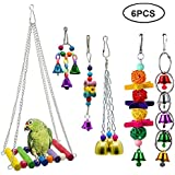 Bird Swing Toy Set, Auoker 6 Pack Wooden Bird Chew Toy with Ladder, Bell and Ball - No Fade and Durable Cage Toy for Parakeets Parrots Conures Cockatiels Macow Phoenix Caridinal Mynah