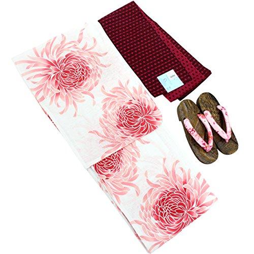 浴衣 レディース 白地 ピンク 菊柄 福袋3点セット フリーサイズ N1669