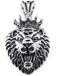 [テメゴ ジュエリー]TEMEGO Jewelry メンズステンレススチールヴィンテージペンダントゴシックライオンヘッドのクラウンネックレス、ブラックシルバー[インポート]