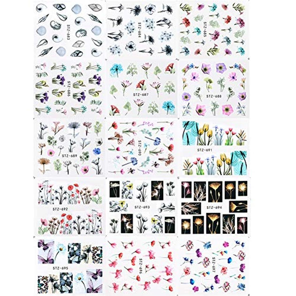 五月クリスマス一方、24枚のネイルステッカーネイルステッカーネイルステッカーインク花の透かし