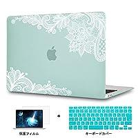 Redlai MacBook Pro Retina 15 インチ フラワープリント ハードプラスチックケース 対応モデル(A1398) Pro 15.4 インチ 専用シェルカバー ハードケース レースのプリントシェル 液晶保護フィルムと日本語キーボードカバー付き(M107 グリーン)