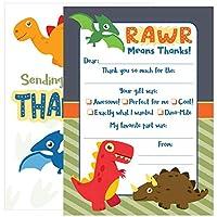 25枚のキッズ恐竜サンキューカード - これらのキュートな封筒付きサンキューノート(5 x 7インチ) は、お子様に簡単にカスタマイズできます。
